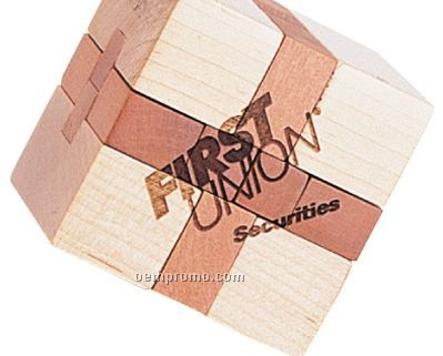 Natural Wood Cube Shaped Puzzle