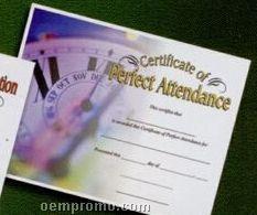 Perfect Attendance Stock Certificate W/ Clock Photo