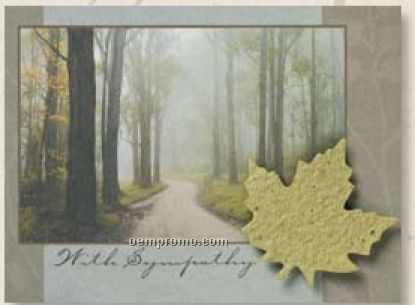 Sympathy Card With Leaf Seed Decoration & Forest Scene