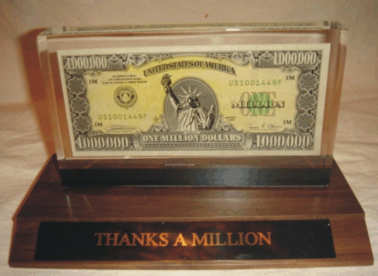"""Real"" Million Dollar Bill Commemorative Desk Plate"