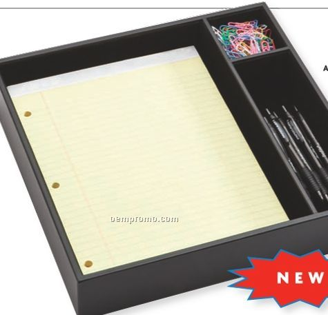 Black Classic Leather Conference Room Organizer