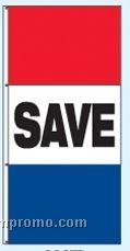 Single Face Stock Message Interceptor Drape Flags - Save