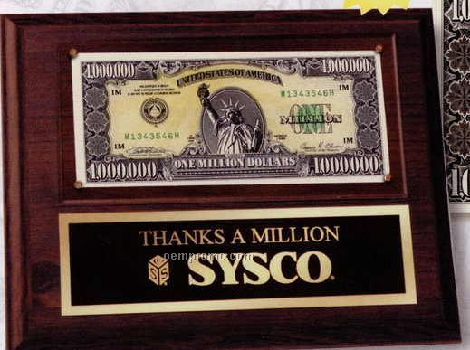 """Real"" Million Dollar Bill On Walnut Wall Plaque"