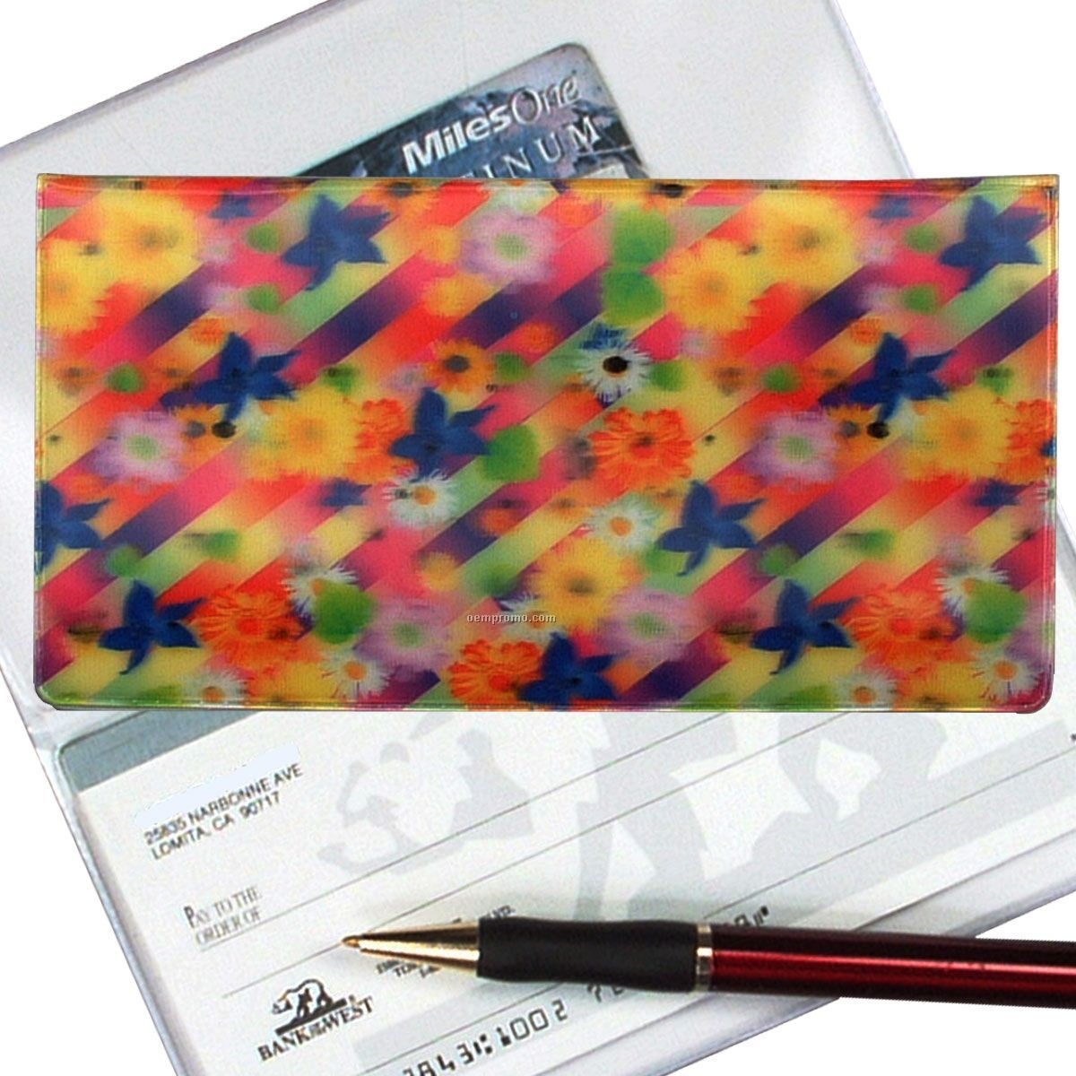 3d Lenticular Checkbook Cover (Flower Stripes)