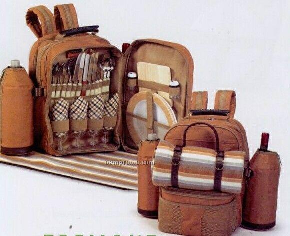 Picnic Plus Tremont 4 Person Backpack Picnic Set W/ Fleece Blanket