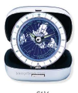 Stainless Steel Case World Time Travel Alarm Clock