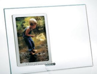 "Starfire Clear Glass Vertical Stainless Photo Frame (7""X9""X3/16"")"