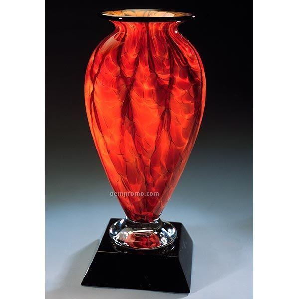 "6.5""X13.75"" Diamond Blaze Mercury Vase W/ Marble Base"