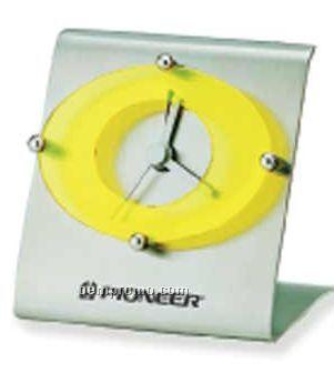 "Luna Brushed Steel Alarm Clock (3 1/4""X3 1/4""X2"")"