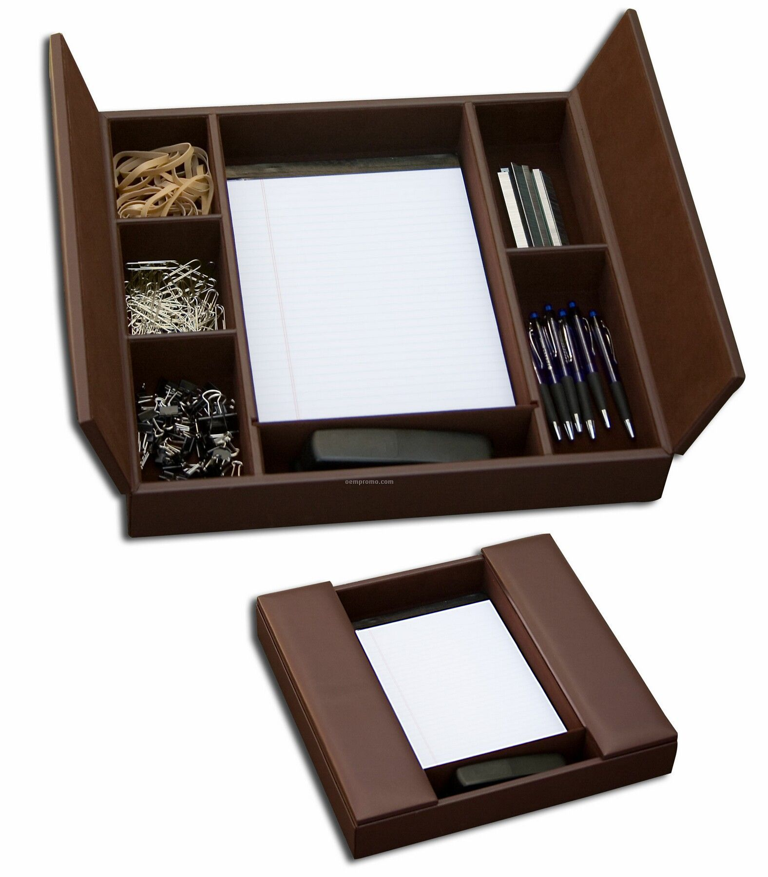 Classic Leather Enhanced Conference Room Organizer - Chocolate Brown