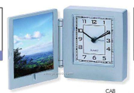 "Metal Case Clock W/ Photo Frame (2 1/4""X2 3/8""X5/8"")"