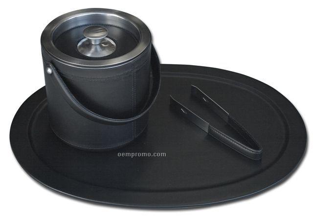 Black Classic Leather Serving Set - Top-grain Leather