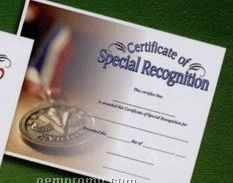 Special Recognition Stock Certificate W/ Medal Photo