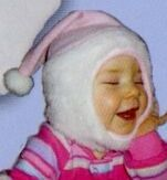 Promotional Fleece Baby Santa Hat With Fur Band And Chin Strap