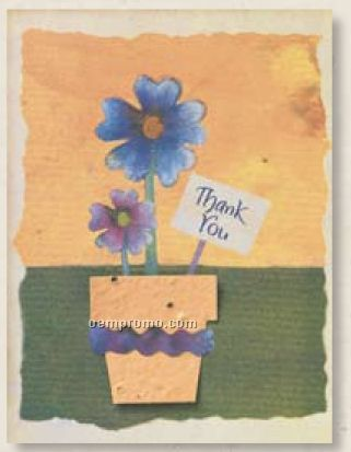 Thank You Card With Flower Pot Seed Decoration