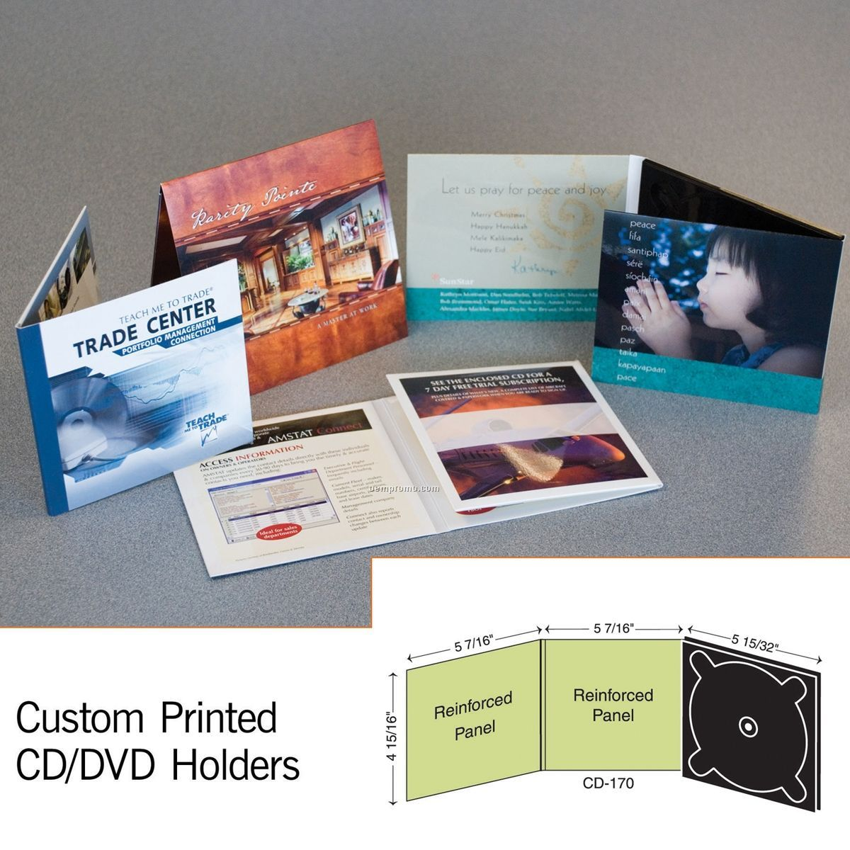 3 Panel CD Holder W/ 1 Right Panel Digitray (1 Color/1 Side)
