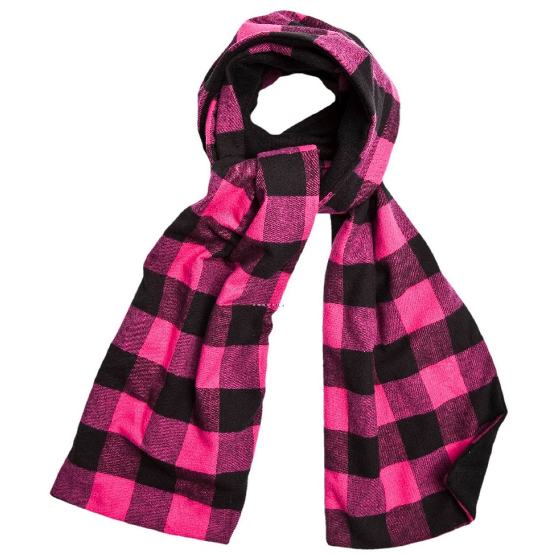 for sure fuchsia pink flannel scarf w black fleece china