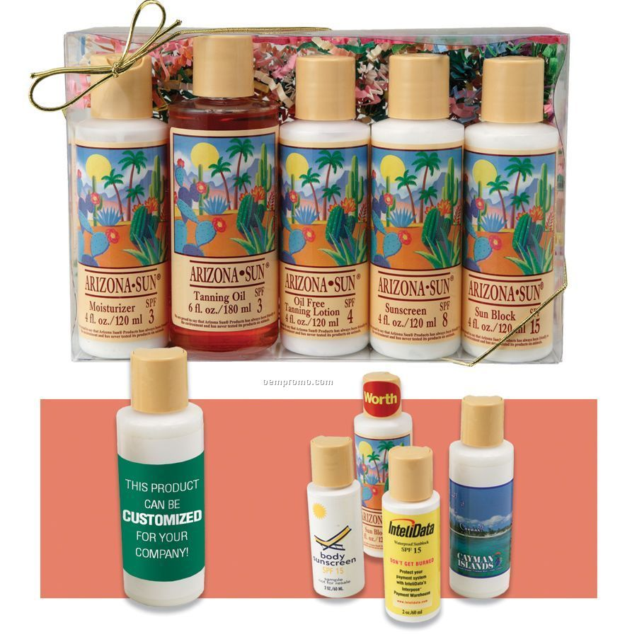 Sampler Gift Set With Five 4 Oz. Products In Plastic Box With Bow