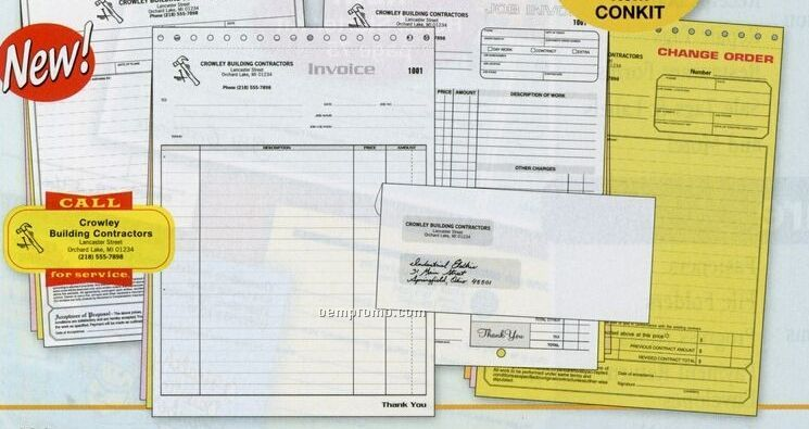 Contractor Starter Kit With Work Order Forms & Envelopes