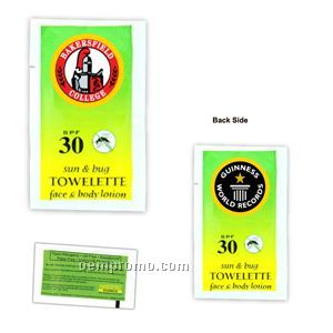 Spf 30 Sunscreen Towelettes (24 Hours Service)
