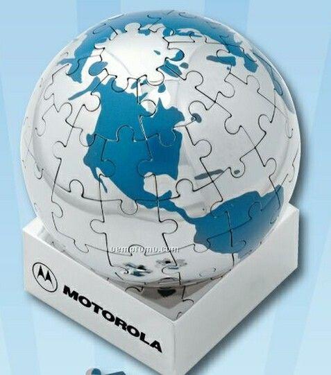 Polished Chrome Puzzle Globe