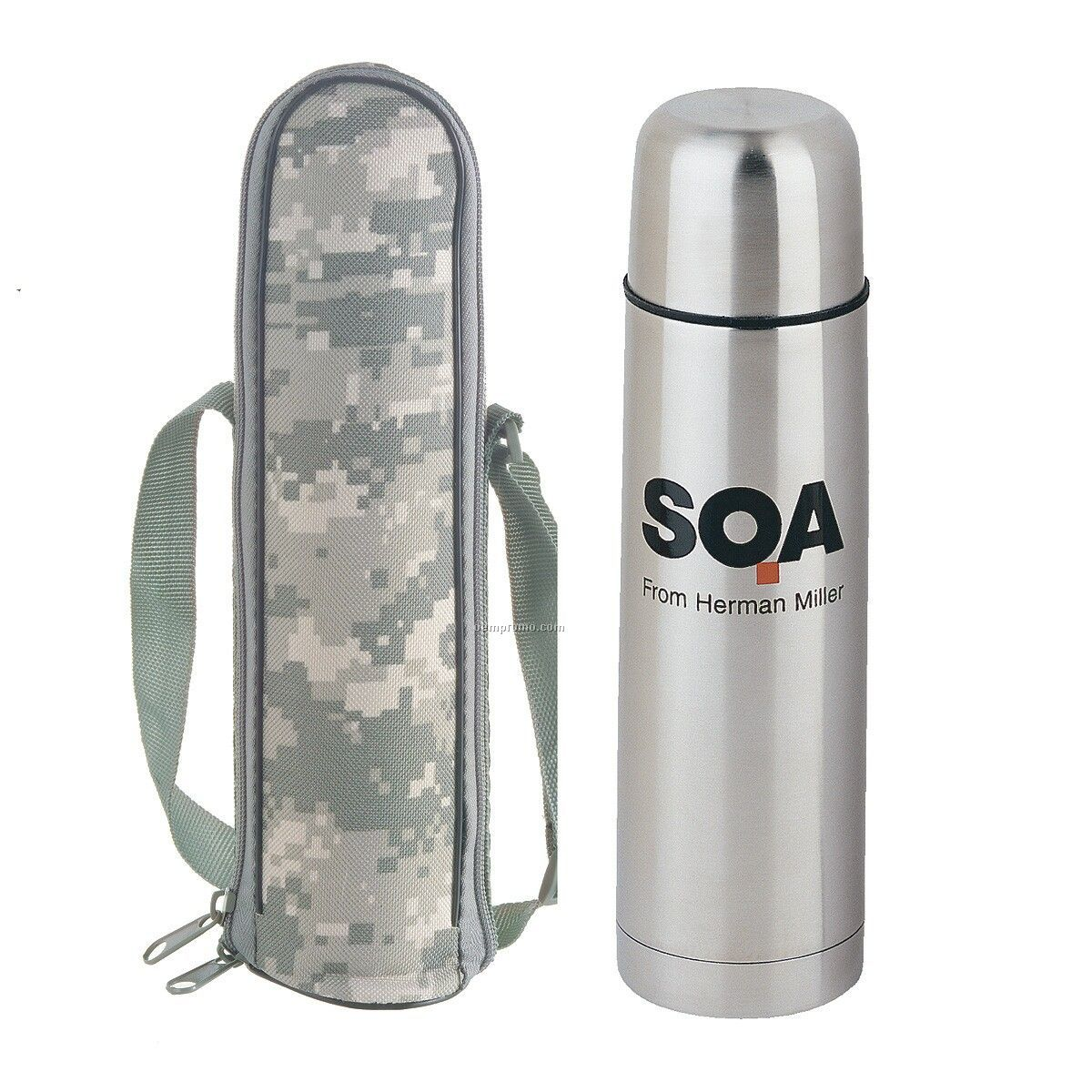 Stainless Steel Vacuum Bottle W/ Acu Pouch