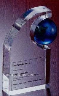 "1 1/2"" Spinning Globe On Base Lucite Embedment"