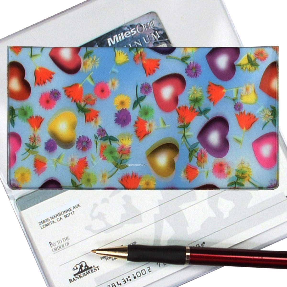 3d Lenticular Checkbook Cover (Hearts & Flowers)
