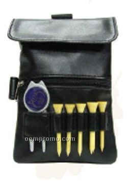 Black Golf Pouch W/ Top Hook & Side Loop