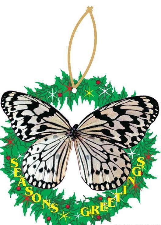 Black & White Butterfly Wreath Ornament W/ Mirrored Back (12 Square Inch)