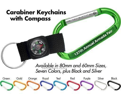 Carabiner Keychain W/Compass