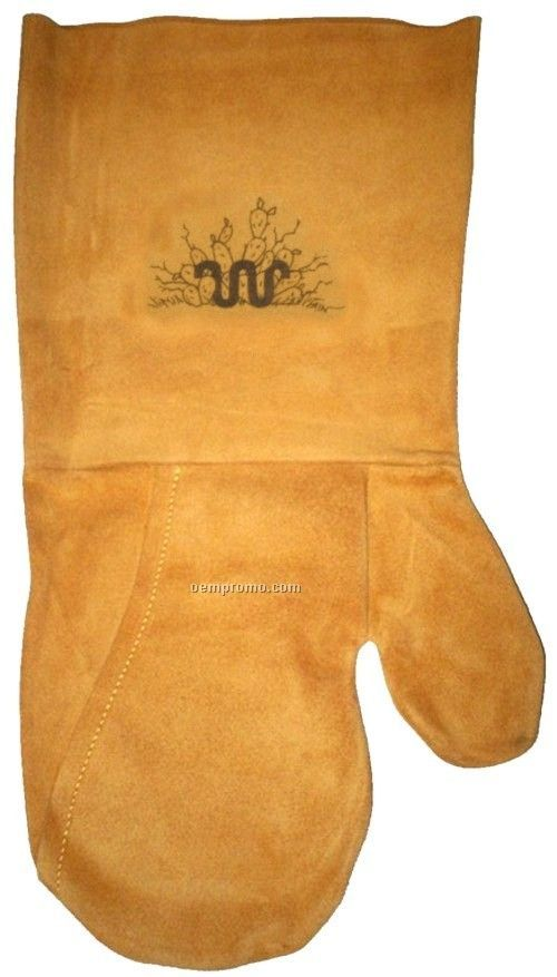 Suede Mitt, Laser Engraved, Washable (Mustard)