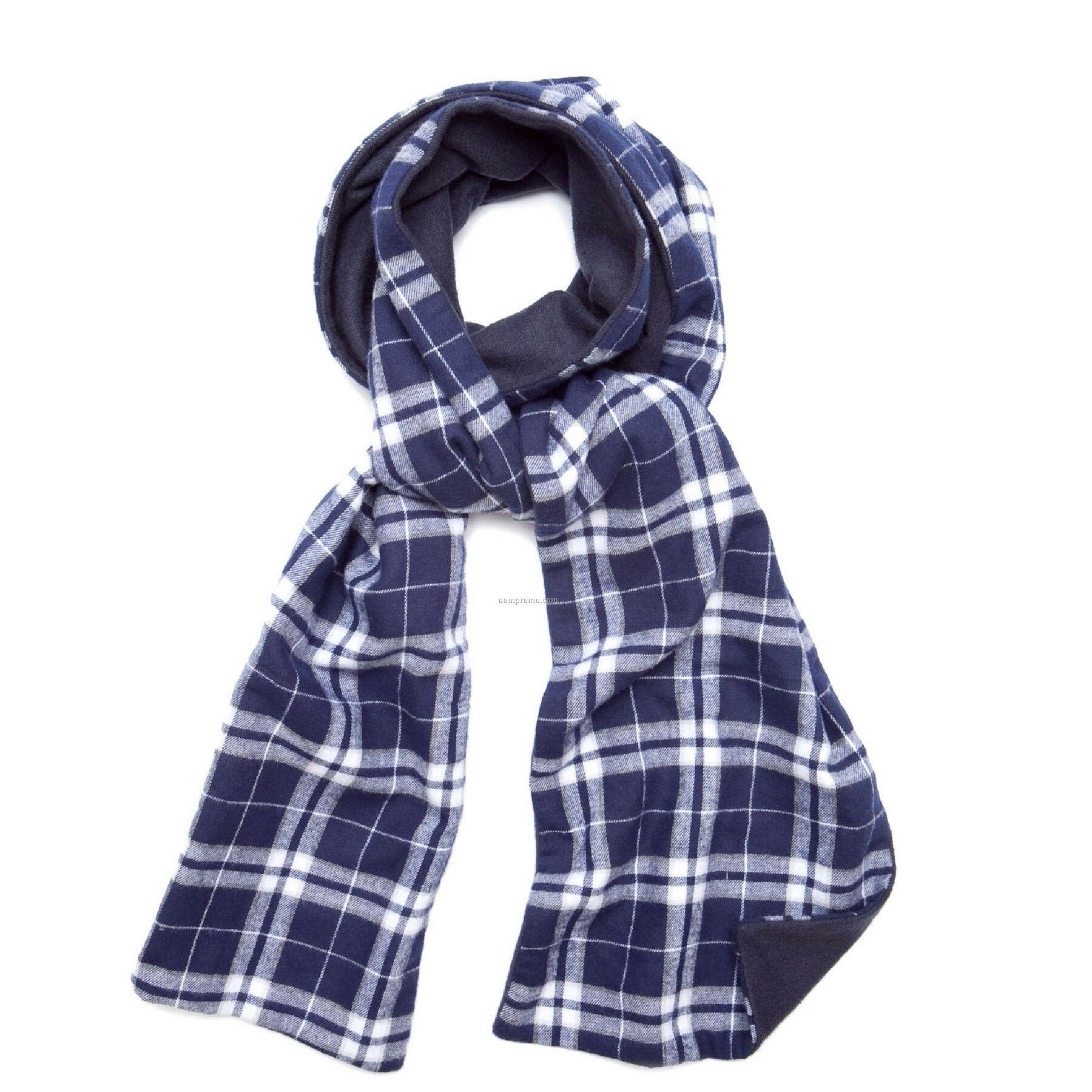 Navy Blue/Silver Flannel Scarf