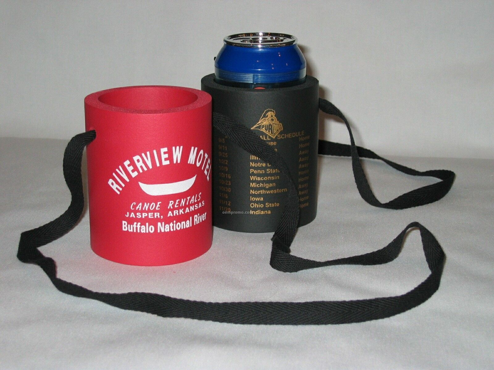 Hanging Foam Rubber Beverage Can Holder With Lanyard