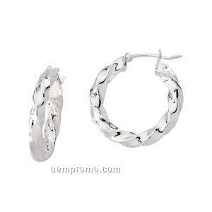Ladies' Stainless Steel 32mm Hoop Earring