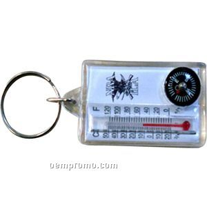 Plastic Material Key Tag W/Compass And Thermometer