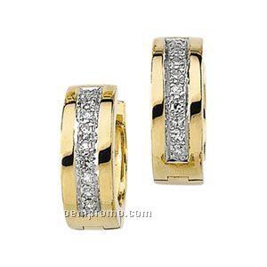 Ladies' 14ky/Rhodium Plated 1/8 Ct Tw Diamond Round Hinged Earring
