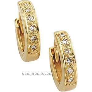 Ladies' 14ky 1/10 Ct Tw Diamond Round Hinged Earring