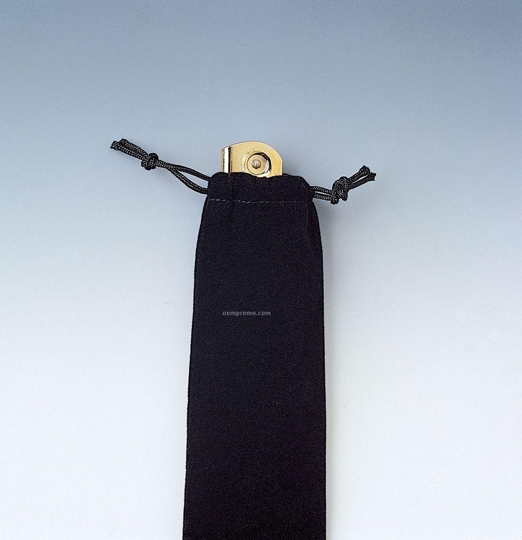 Black Velveteen Pull String Sack