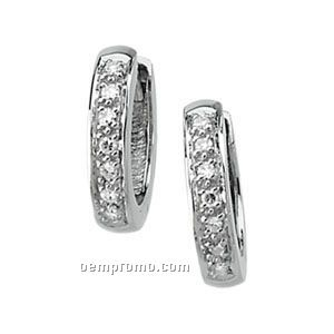 Ladies' 14kw/Palladium Rhodium 1/6 Ct Tw Diamond Round Hinged Earring