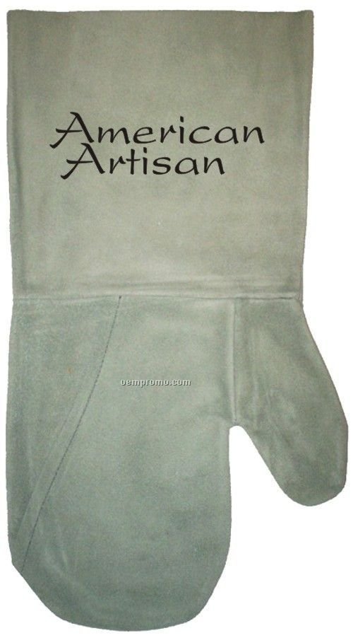 Suede Bbq/ Oven Mitt, Debossed Or Hot Branded (Sage)