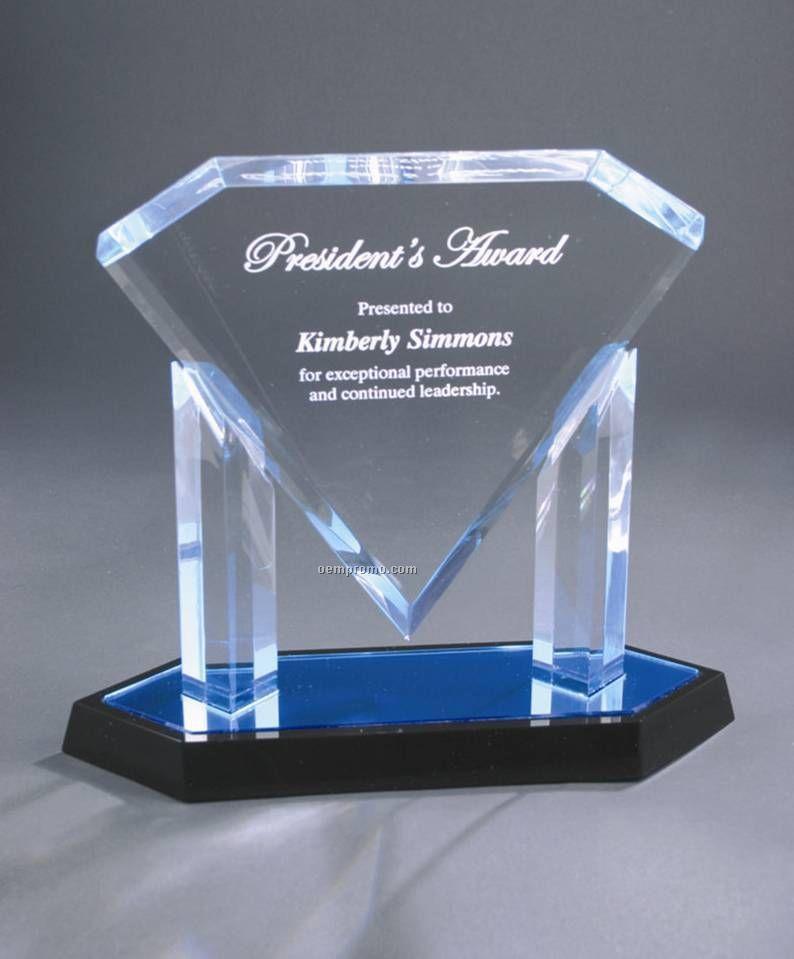 """Floating Diamond Reflective Acrylic Award W/ Black Base (10"""")"""
