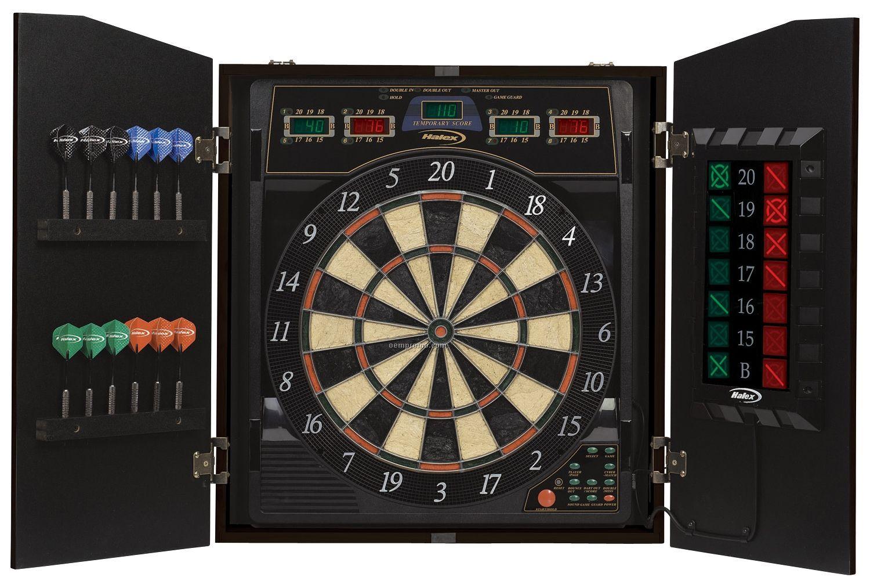 Halex Cricket View 5000 Dart Board In Wood Cabinet