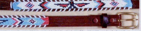 """3/4"""" Brown Leather Beaded Belt - Large Sizes"""