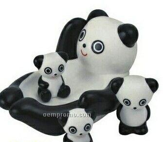 4 Piece Big Rubber Panda Family Toy