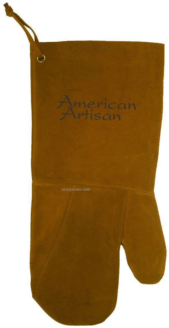 Suede Bbq/ Oven Mitt, Debossed Or Hot Branded (Tobacco)
