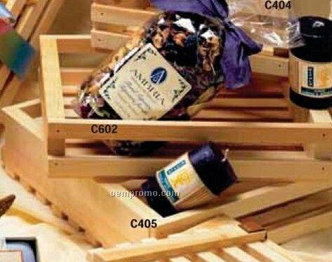 "8""X10-1/2""X2-1/2"" Plain Wooden Slat Style Gift Basket Crates"