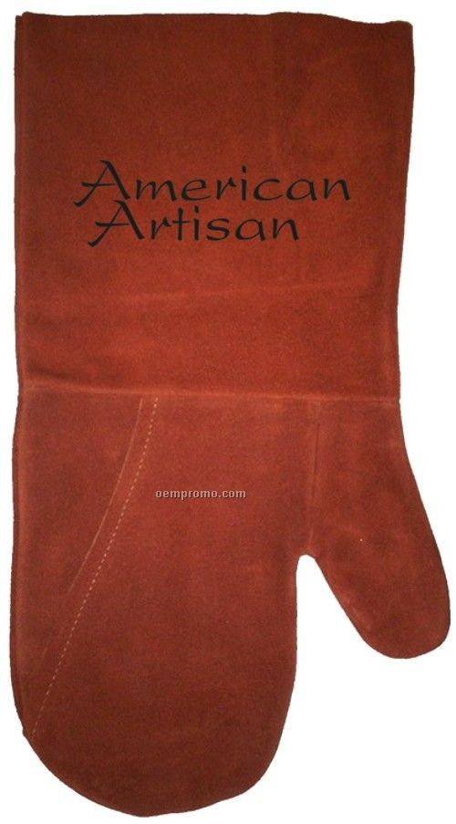 Suede Bbq/ Oven Mitt, Debossed Or Hot Branded (Rust)