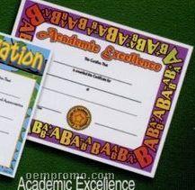 Academic Excellence Stock Certificate W/ Alphabet Border