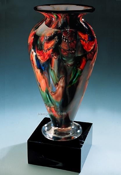 "Autumn Splash Athena Vase W/ Marble Base (3.75""X9.75"")"